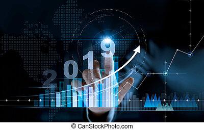 croissance affaires, données, arrière-plan., planification, concept., statistiques, nouvel an, paiement, réseau, nombre, investissement, graphique, stratégie, diagramme, numérique, financier, homme affaires, toucher, texte, 2019, commercialisation, banque