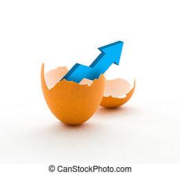 croissance affaires, graphique, dans, oeuf cassé