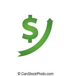 croissance, dollar, icône