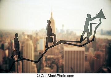 croissance, et, collaboration, concept