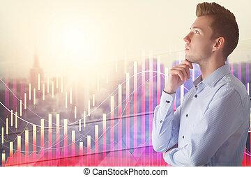 croissance financière, et, analyse, concept