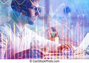 croissance financière, et, stockage, concept