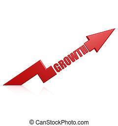 croissance, flèche, haut, rouges