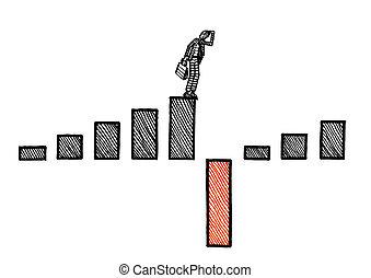 croissance, homme, diagramme, revêtement, négatif, dessiné, devant