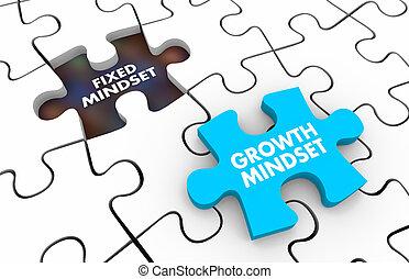 croissance, morceaux, vs, puzzle, fixe, mindset, illustration, 3d