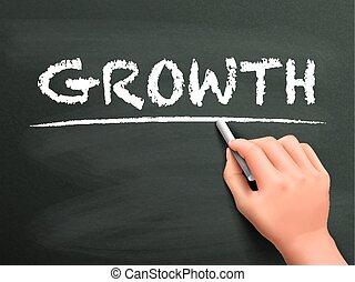croissance, mot, écrit, par, main