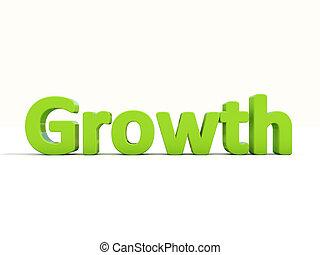 croissance, mot, 3d