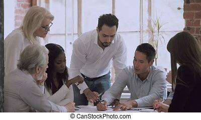 croissance, stratégie, développer, meeting., brain-storming, employés, divers