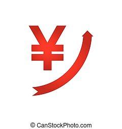 croissance, yen, icône