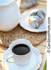 croissant , καφέs , γλυκός , γευστικός , κύπελο