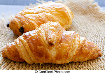 croissant and chocolate bread