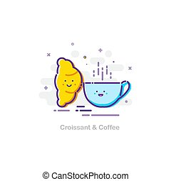 Croissant and coffee concept in mbe design style. Vector flat illustration.