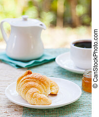 Croissant and coffee Summer background - Romantic breakfast...