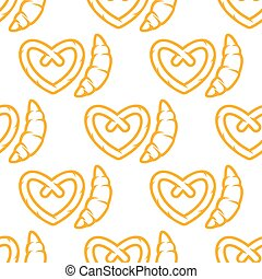 Croissant and pretzel seamless pattern