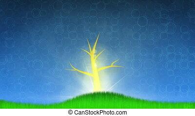 croissant, animation, arbre