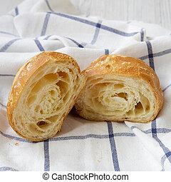 croissant, ansicht., seite, selbstgemacht, frisch, close-up., tuch