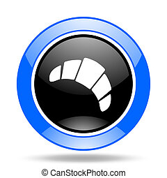 croissant blue and black web glossy round icon