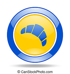 croissant blue and yellow web glossy round icon