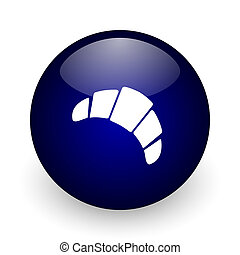 Croissant blue glossy ball web icon on white background. Round 3d render button.