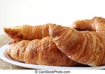 Croissant Breakfast - Plate of fresh baked, buttery ...
