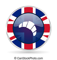 croissant british design icon - round silver metallic border button with Great Britain flag