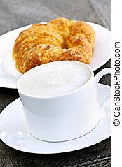croissant, café, latte
