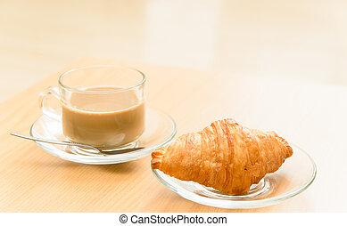 croissant, café, matin, chaud, temps