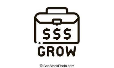 croissant, cas, argent, icône, animation
