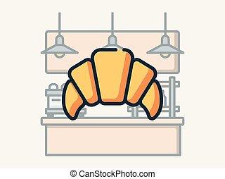 Croissant. - Coffee shop elements vector illustration.