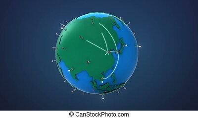 croissant, début, réseau global, asie