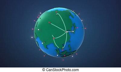 croissant, début, réseau global, porcelaine