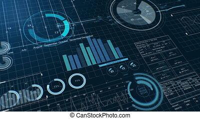 croissant, diagrammes, uhd, graphiques, concept, business, stockage, version., marché, figures, arrière-plan., display., sombre, 4k, financier, 3840x2160., diagrammes, beau, technologie, bleu, presentations., numérique, utile