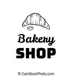 Croissant Doodle, a hand drawn vector doodle illustration of a Croissant. Bakery shop