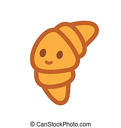 Croissant doodle mascot character emoji. Funny croisant emoticon. Isolated vector illustration.