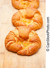 croissant, franse , brioche, hout, plank, gebakken vers