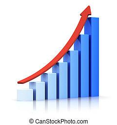 croissant, graphique barre, à, flèche