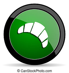 croissant green web glossy icon with shadow on white background