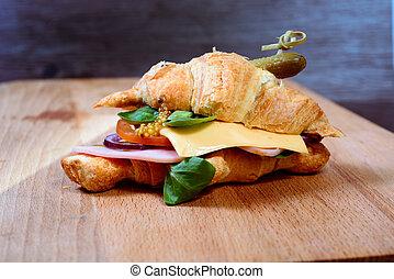 croissant ham cheese breakfast