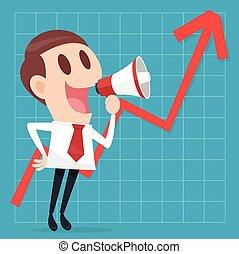 croissant, homme affaires, business, graphique