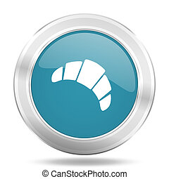 croissant icon, blue round glossy metallic button, web and mobile app design illustration