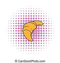 Croissant icon in comics style