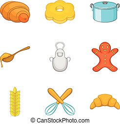 Croissant icons set, cartoon style