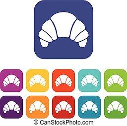 Croissant icons set
