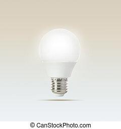 croissant, idée, fond, mené, objet, ampoule, gradient, bleu, blanc, lumière, usage, flotter, créatif, polyvalent