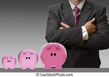 croissant, investissement, homme affaires