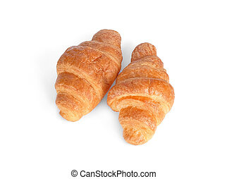 croissant isolated on white background, top view