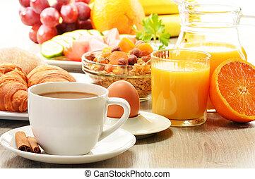 croissant, kávécserje, növényi, tojás, lé, gyümölcs, narancs, reggeli