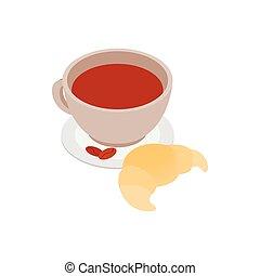 croissant, koffie, pictogram, kop