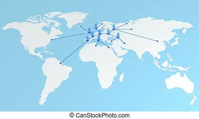 croissant, la terre, map., réseau