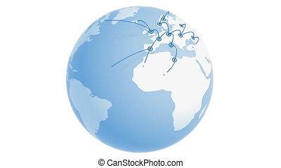 croissant, la terre, réseau global